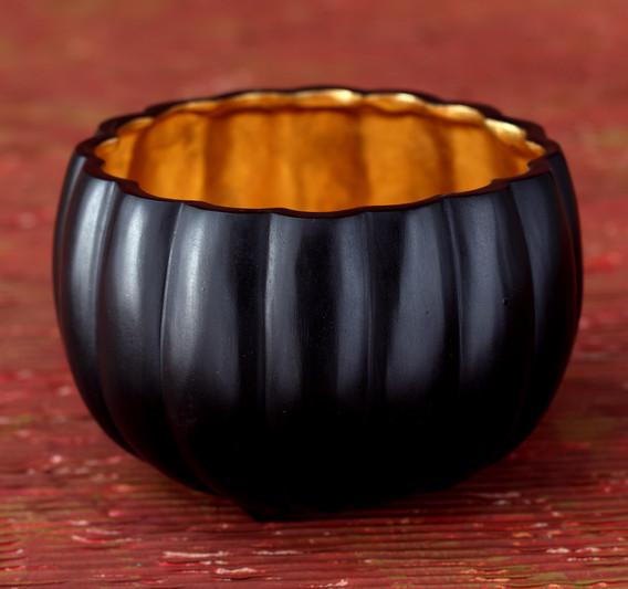 Bronze Pumpkin Bowls - Gold Inside