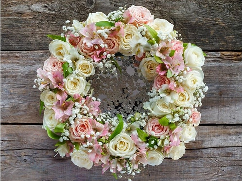 Spring Roses Silk Floral Wreath