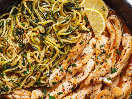 Grilled Chicken & Zucchini Noodle Pasta with Cousins Creole Tomato