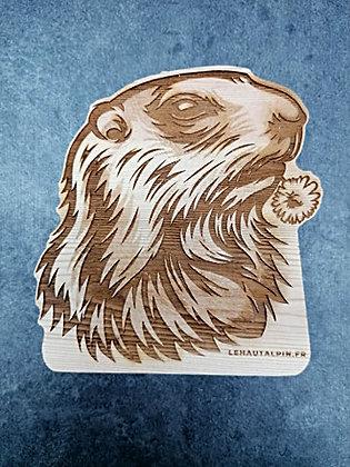 Décoration Marmotte en bois