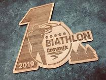 Plaque en bois gravée Biathlon Crévoux trophée déco coupe