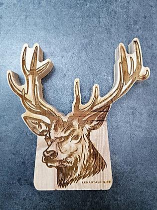 Décoration Cerf en bois