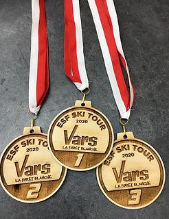 médailles ESF VARS en bois gravure laser