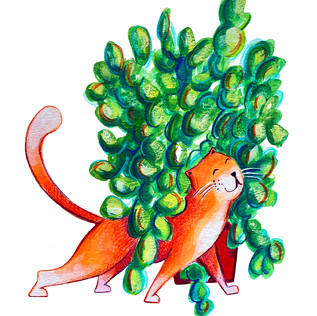 Cat and Plant 1