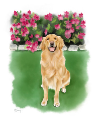 realistic style watercolor dog portrait