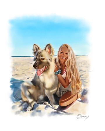 custom realistic watercolor digital pet portrait