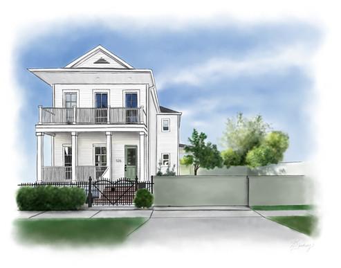 custom home illustration for realtor closing gift