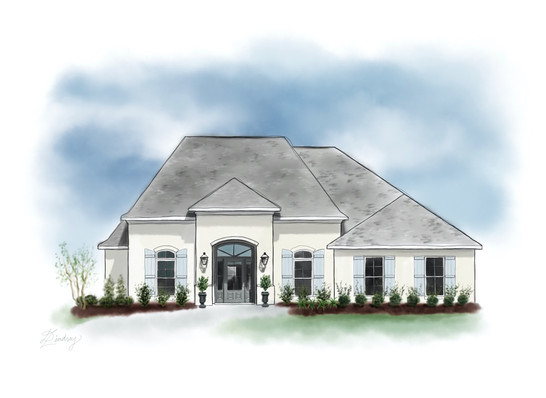 custom watercolor & ink style home portrait