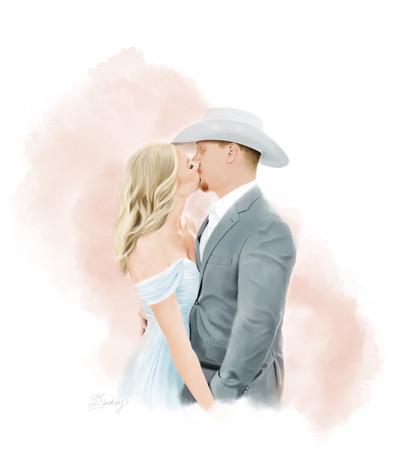 realistic wedding watercolor portrait