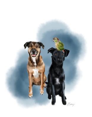 watercolor & ink pet portrait