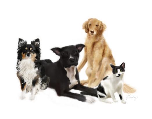 realistic watercolor style pet portrait