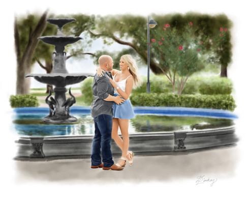 realistic watercolor couple portrait
