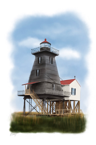 custom watercolor & ink style lighthouse painting