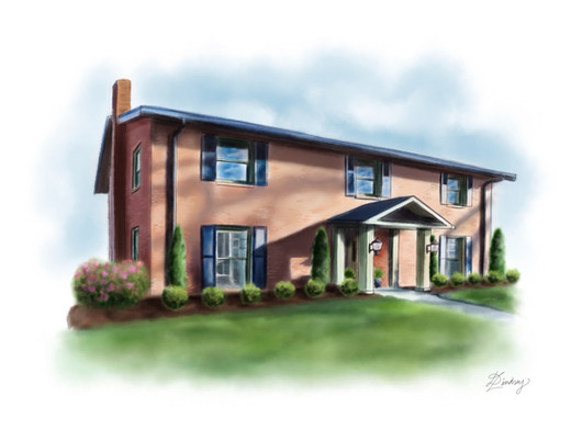 custom watercolor & ink style home illustration