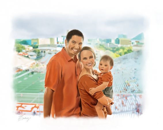 realistic watercolor style family portrait