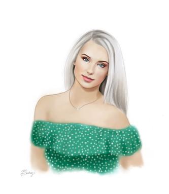 custom watercolor & ink style digital portrait