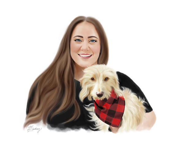 custom realistic watercolor style digital portrait