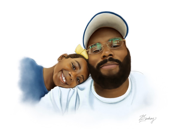 custom realistic watercolor digital portrait