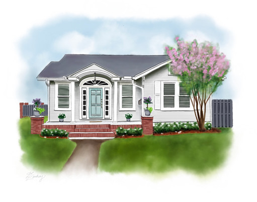 watercolor & ink style home illustration