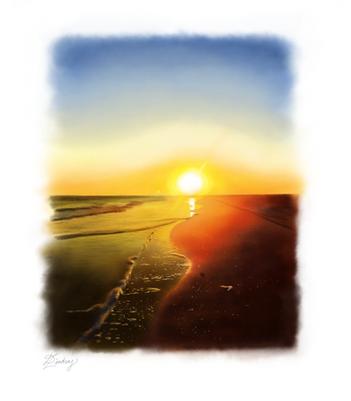 sunset watercolor beach landscape