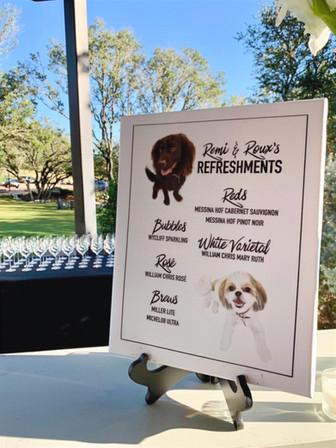 pet portrait custom signature drink menu