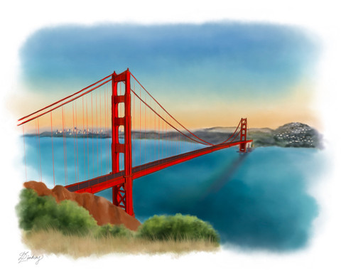 custom watercolor & ink painting of golden gate bridge