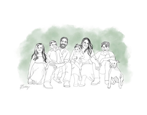 watercolor & ink minimalist family portrait