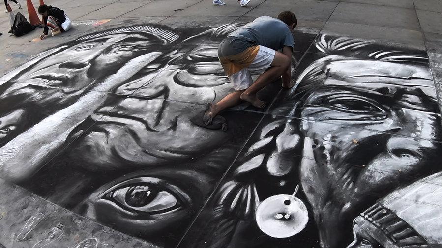 Street Artist Native American Painting M