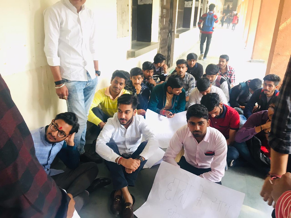 Students of Dayal Singh College Protesting