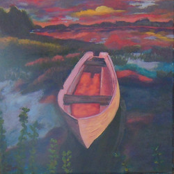 Pink boat yellow sky