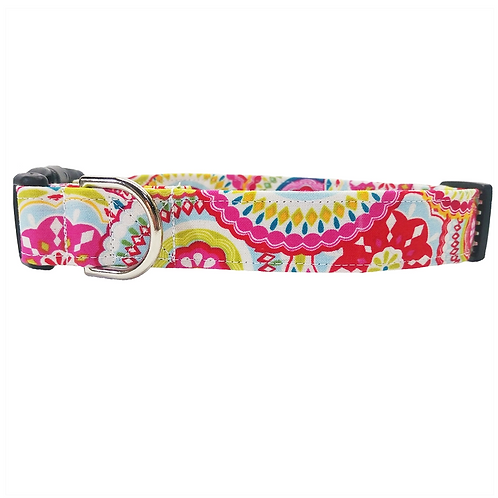 Colorful medallion buckle collar by Buddy and Friends