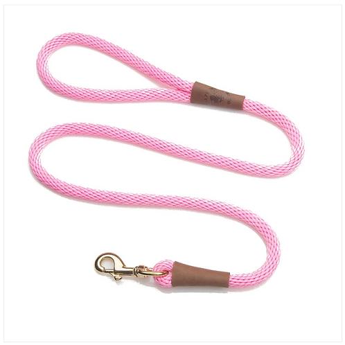 """Pink 1/2"""" x 6' rope leash from Mendota Pet"""