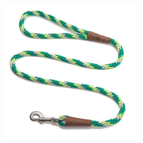 """Ivy Tri-color 1/2"""" x 6' rope leash from Mendota Pet"""