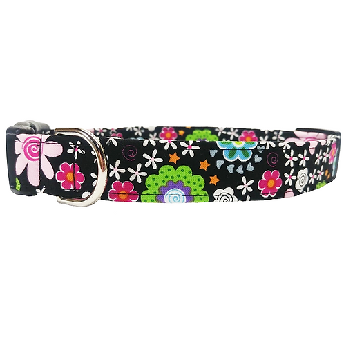Black floral collar by Buddy and Friends