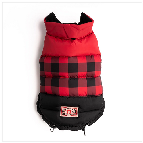 Red Buffalo Check Color Block Reversible Puffer from Fab Dog