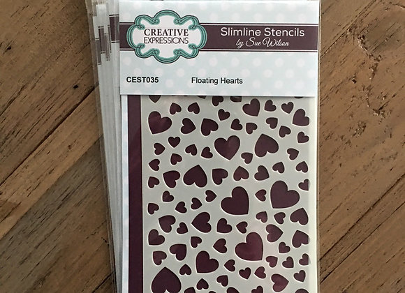 CREATIVE EXPRESSIONS SLIMLINE STENCIL -  FLOATING HEARTS