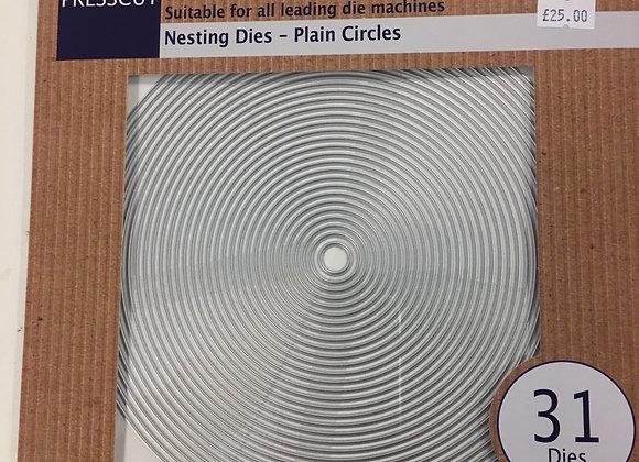 PRESSCUT NESTING DIES -PLAIN CIRCLES -31 DIES