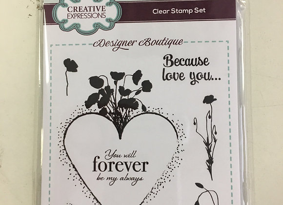 CREATIVE EXPRESSIONS A6 STAMP SET -  ETERNAL POPPIES