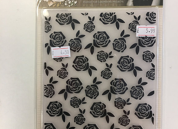 Crafters Companion Embossing Folder - Elegant Rose