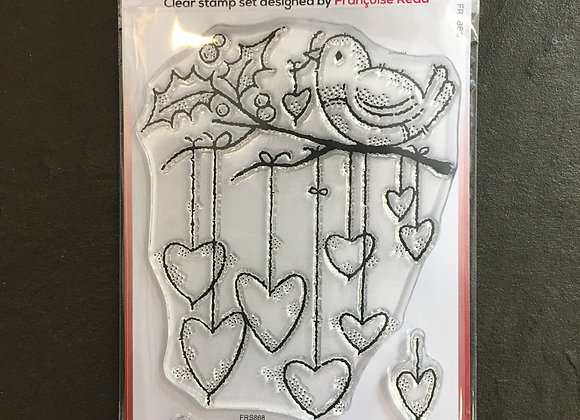 WoodWare Stamp - HANGING HEARTS