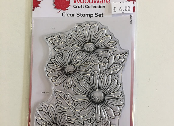 Woodware Clear Stamp Set- Five Daisies