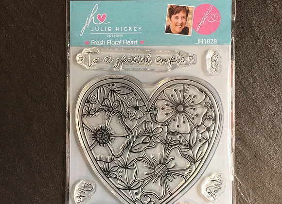 Julie Hickey Designs -  FRESH FLORAL  HEART STAMP SET