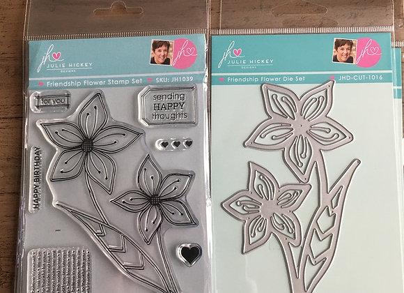 Julie Hickey Designs -FRIENDSHIP FLOWER STAMP & DIE SET