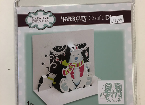 Creative Expressions Paper Cuts Pop Up Polar Bear Family Die