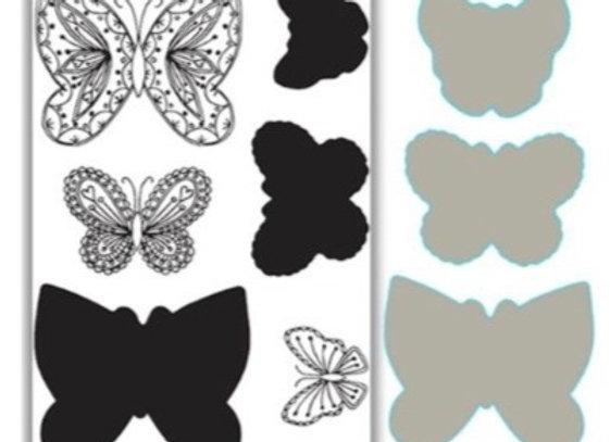 JHD Layering Flutterbies Stamp & Die Set