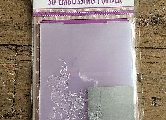 NELLIE S CHOICE - 3D EMBOSSING FOLDER-  ROSE CORNER 2