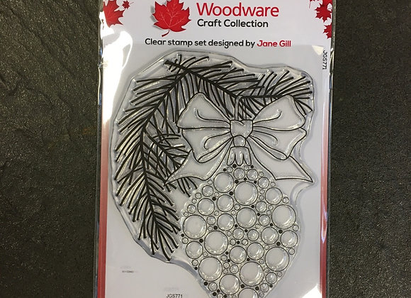 WoodWare Stamp - BUBBLE BAUBLE & PINE BRANCH