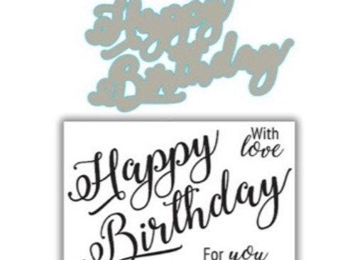 JHD Signature Happy Birthday Stamp & Die Set