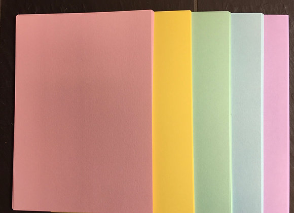 PASTEL Card  PACK - 50 sheets- 5 COLOURS