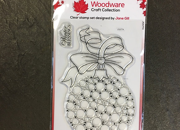 WoodWare Stamp - BUBBLE BAUBLE & RIBBON